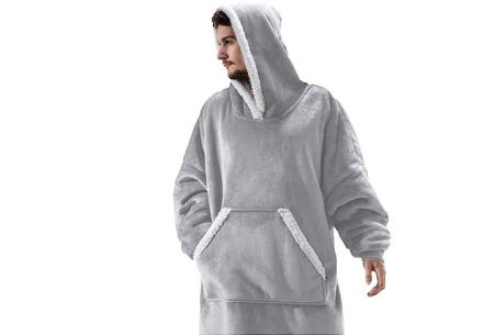Super comfy fleece hoodie | Een trui en deken in één! - Voor dames en heren Lichtgrijs