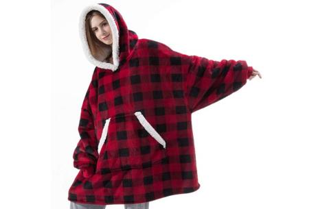 Super comfy fleece hoodie | Een trui en deken in één! - Voor dames en heren Rood/zwart