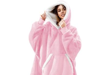 Super comfy fleece hoodie | Een trui en deken in één! - Voor dames en heren Roze