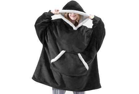Super comfy fleece hoodie | Een trui en deken in één! - Voor dames en heren Zwart