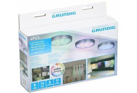 Set van 4 Grundig led-spots | Dimbare inbouwspots met 20 lichtkleuren
