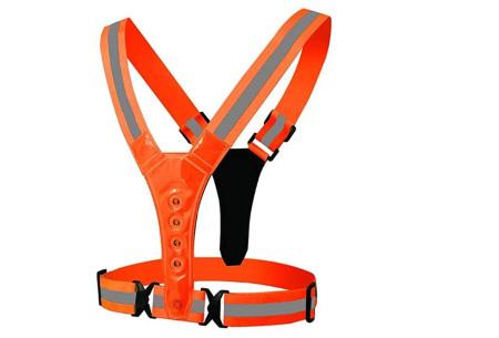 Hardloopverlichting   Verstelbaar harnas voor goede zichtbaarheid in het donker Oranje