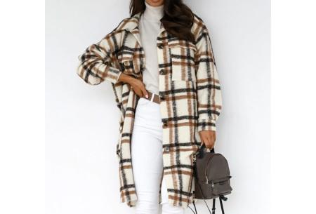 Plaid Blouse | Geruit dames overhemd van stevige stof  Bruin