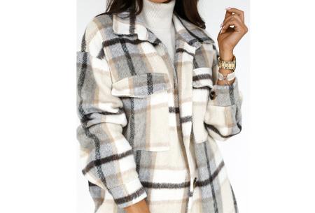 Plaid Blouse | Geruit dames overhemd van stevige stof