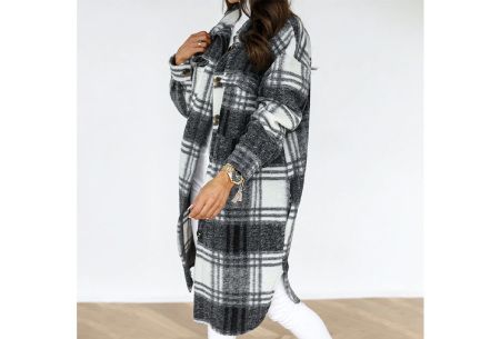 Plaid Blouse | Geruit dames overhemd van stevige stof  Antraciet