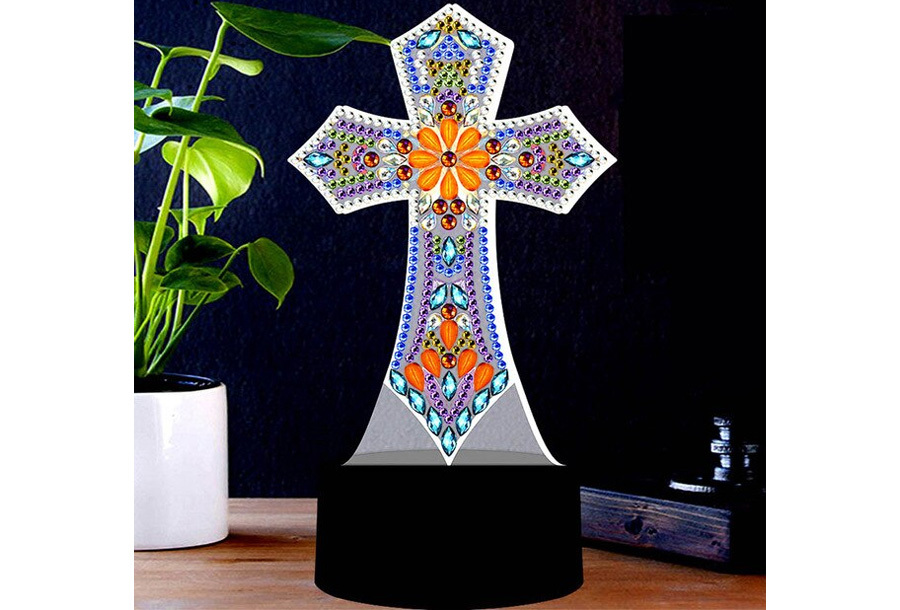 DIY Diamond painting lamp Kruis