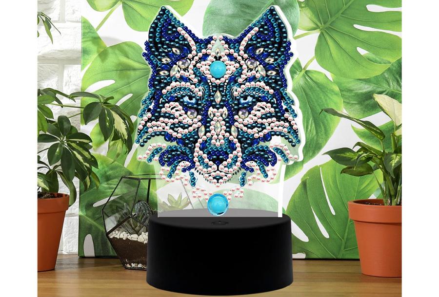 DIY Diamond painting lamp Wolf 2