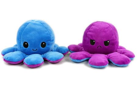 Reversible octopus knuffel | Omkeerbare knuffel - In 11 kleuren Donkerblauw/paars