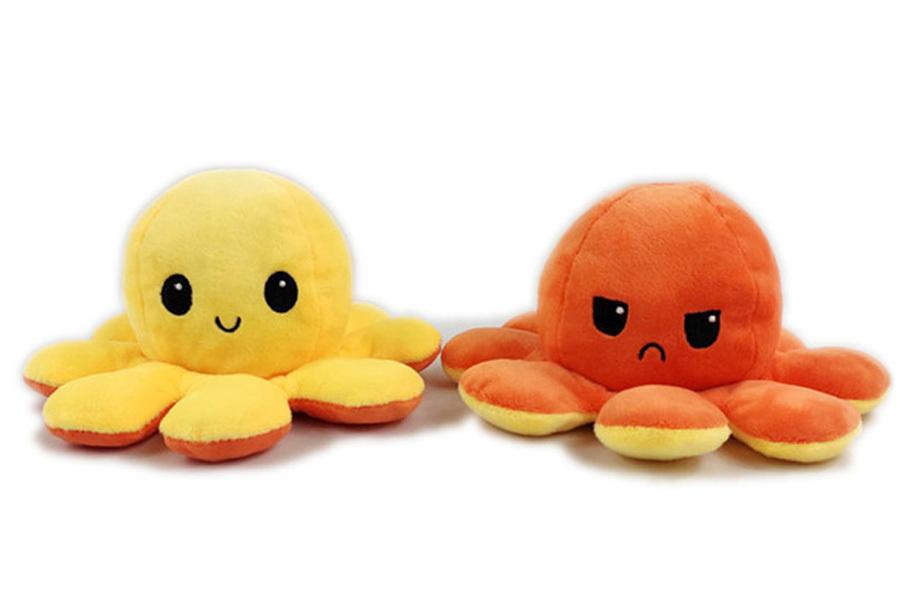 Reversible octopus knuffel Geel/oranje
