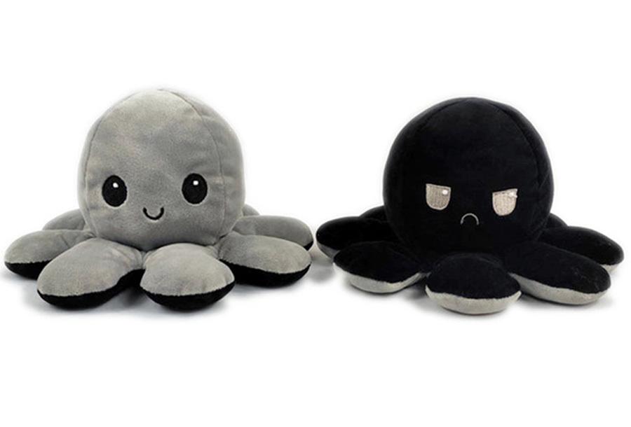 Reversible octopus knuffel Grijs/zwart