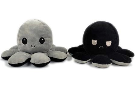 Reversible octopus knuffel | Omkeerbare knuffel - In 11 kleuren Grijs/zwart