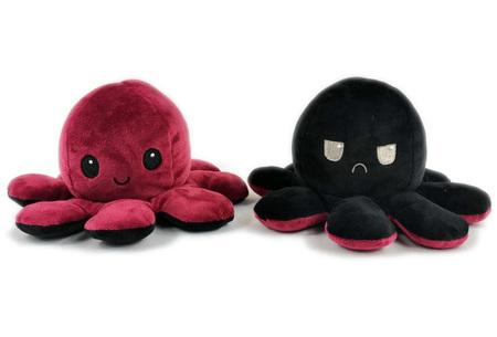 Reversible octopus knuffel | Omkeerbare knuffel - In 11 kleuren Rood/zwart