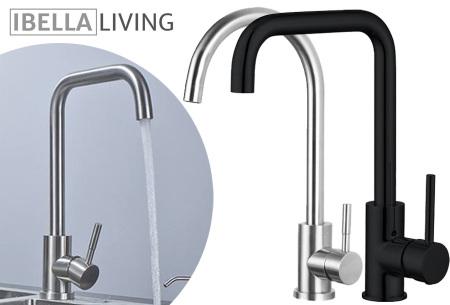 Stijlvolle mengkraan van iBella Living   Rvs of zwarte keukenkraan - In 2 modellen