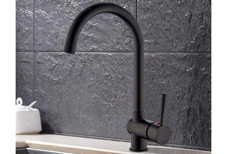 Stijlvolle mengkraan van iBella Living   Rvs of zwarte keukenkraan - In 2 modellen  Zwart rond