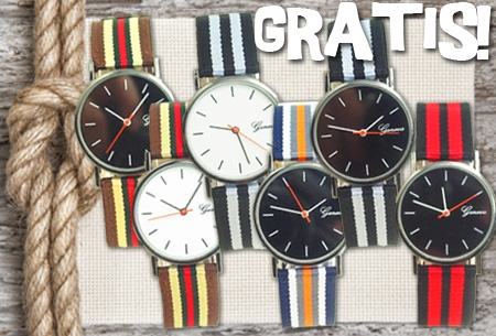 Stripe canvas horloge in 6 kleuren t.w.v. €29,95 nu GRATIS