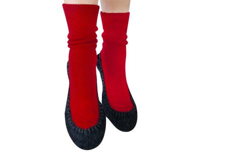 Slofsokken voor dames & heren | Pantoffels en sokken in één Rood