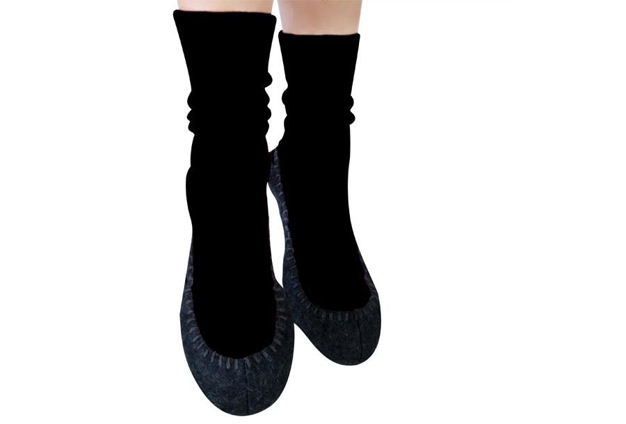 Slofsokken Zwart + Marineblauw - Maat 43-46 - Pantoffel sokken