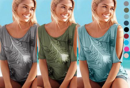 Open shoulder feather shirt   Leuke en stijlvolle top voor een spotprijs