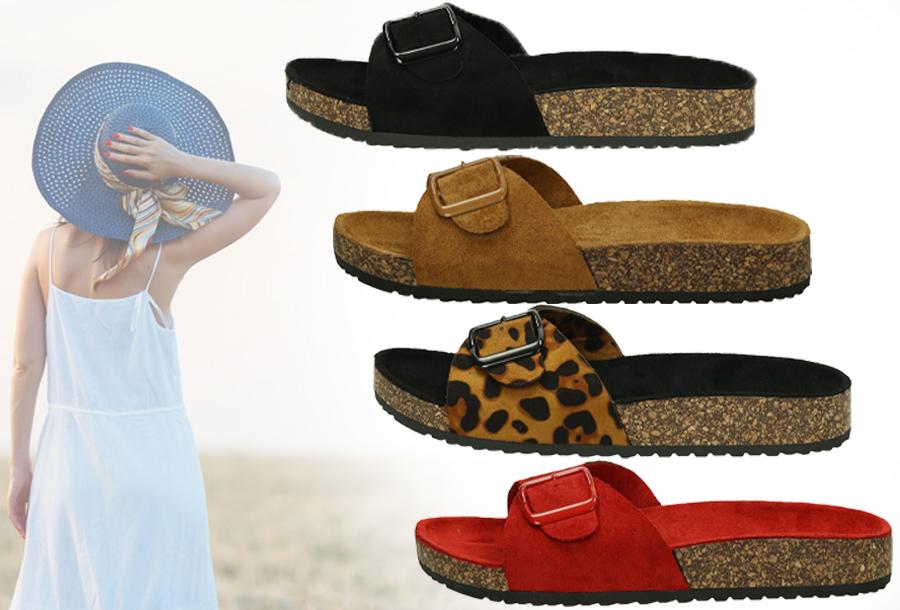 Su�de look slippers met hoge korting
