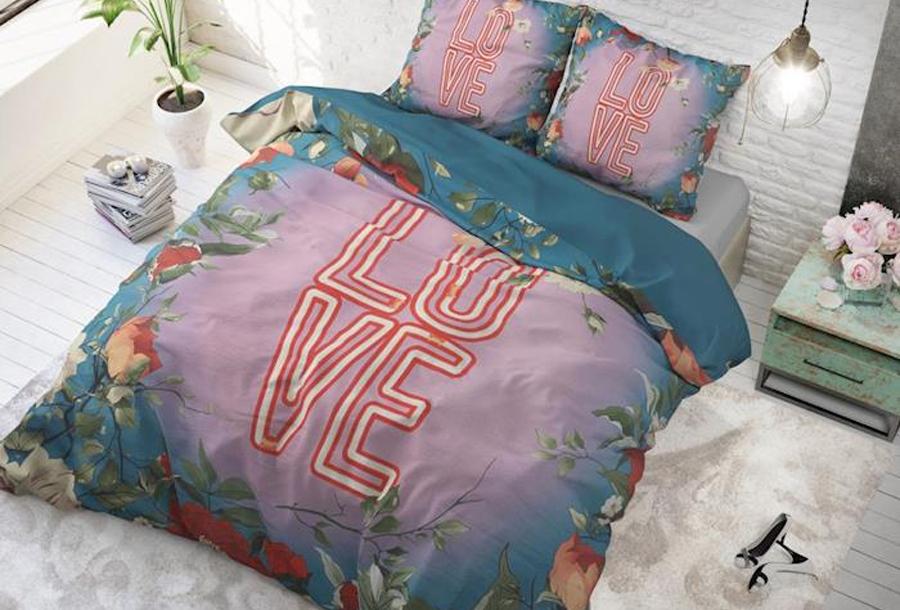 Dreamhouse dekbedovertrekken met print Maat 240 x 220 cm - Led love