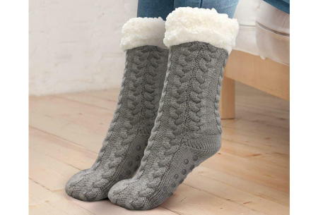 Fleece huissokken | Unisex Huggle Socks met antislipzool