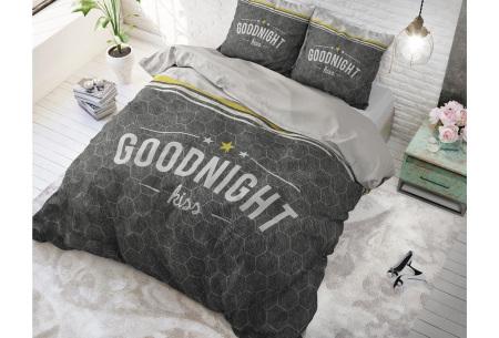 Dreamhouse dekbedovertrek | Dekbedhoes van 100% katoen - Keuze uit 5 prints Goodnight Kiss anthracite