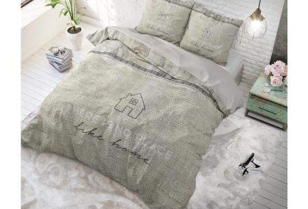 Dreamhouse dekbedovertrek | Dekbedhoes van 100% katoen - Keuze uit 5 prints Like Home taupe