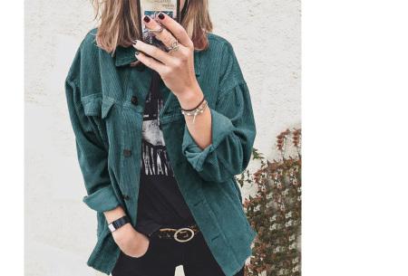 Corduroy blouse voor dames | Trendy overhemd van ribstof Blauw