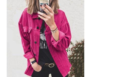 Corduroy blouse voor dames | Trendy overhemd van ribstof Fuchsia