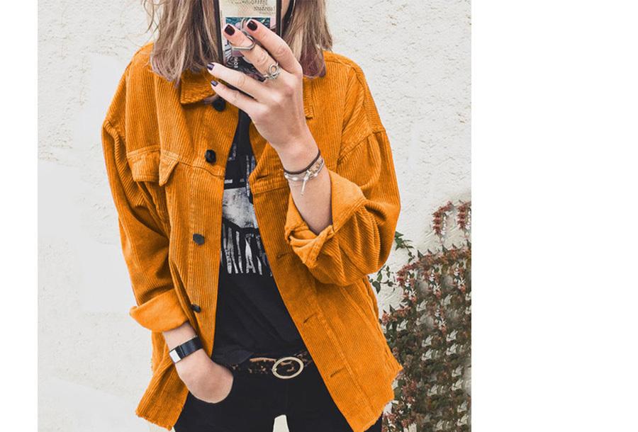 Corduroy blouse dames - Maat S - Geel