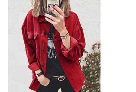 Corduroy blouse voor dames | Trendy overhemd van ribstof Rood