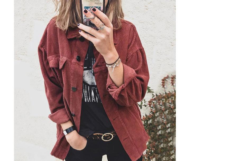 Corduroy blouse dames - Maat M - Wijnrood