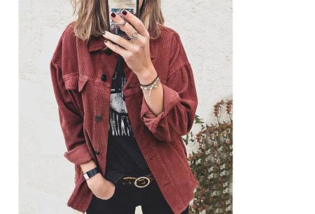 Corduroy blouse voor dames | Trendy overhemd van ribstof Wijnrood