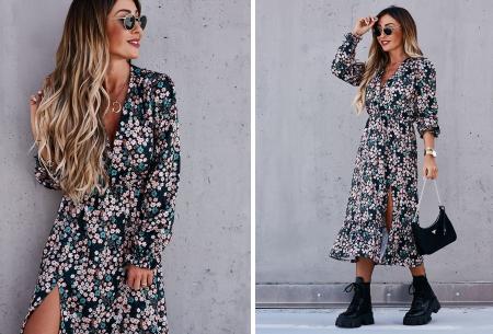 Split blousejurk | Stijlvolle midi jurk in 6 prints Blauw