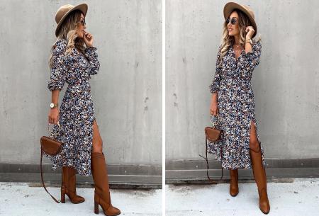 Split blousejurk | Stijlvolle midi jurk in 6 prints Multicolor