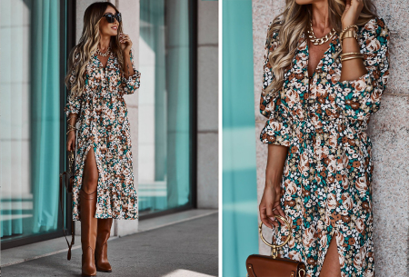 Split blousejurk | Stijlvolle midi jurk in 6 prints Wit