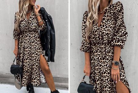 Split blousejurk | Stijlvolle midi jurk in 6 prints Panter