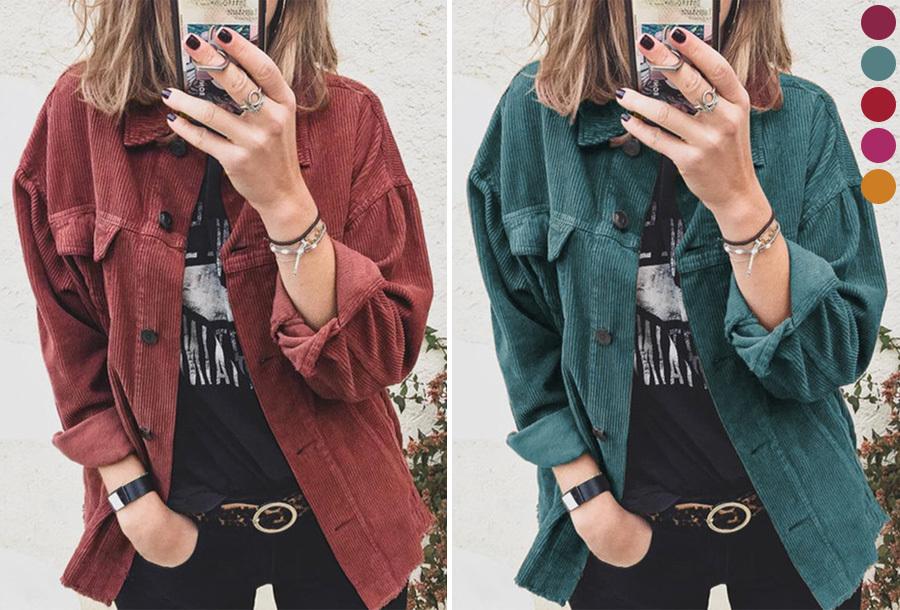 Corduroy dames blouse nu met 40% korting