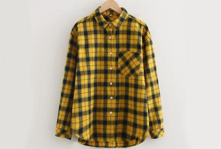 Lumberjack blouse voor dames | Geruit overhemd in 10 kleuren Donkergeel