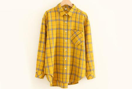 Lumberjack blouse voor dames | Geruit overhemd in 10 kleuren Geel