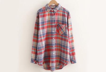 Lumberjack blouse voor dames | Geruit overhemd in 10 kleuren Rood/lila