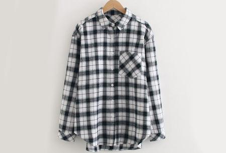 Lumberjack blouse voor dames | Geruit overhemd in 10 kleuren Zwart