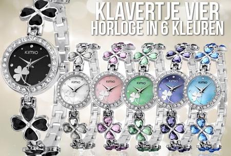 Klavertje Vier horloge in 6 kleuren t.w.v. €39,95 nu slechts €11,95