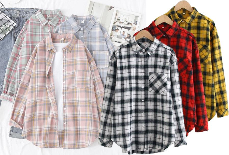 Geruite blouse voor dames in de aanbieding