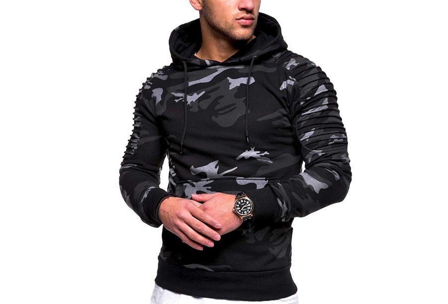 Rib sleeve hoodie voor heren - Maat L - Camouflage donkergrijs