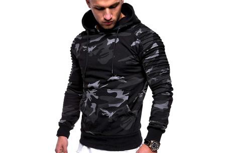 Rib sleeve hoodie voor heren | Stoere trui in effen kleur of met camouflage print
