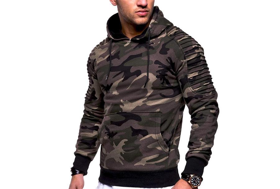 Rib sleeve hoodie voor heren - Maat M - Camouflage groen