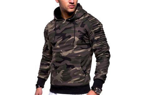 Rib sleeve hoodie voor heren | Stoere trui in effen kleur of met camouflage print Camouflage groen