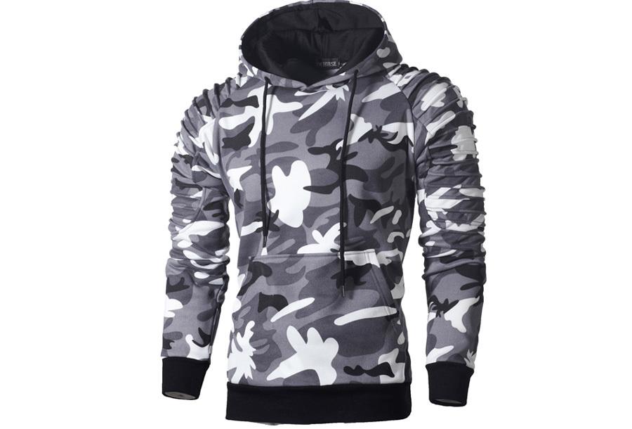 Rib sleeve hoodie voor heren - Maat M - Camouflage lichtgrijs