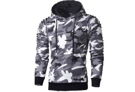 Rib sleeve hoodie voor heren | Stoere trui in effen kleur of met camouflage print Camouflage lichtgrijs